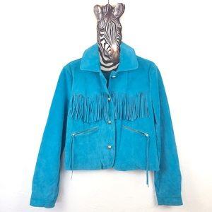 VINTAGE Blue Suede Leather Moto Jacket with Fringe